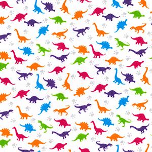 Bright Multi Colour Dinosaur Polyester Cotton Fabric