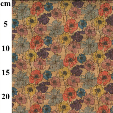Floral Pansy Cork Fabric