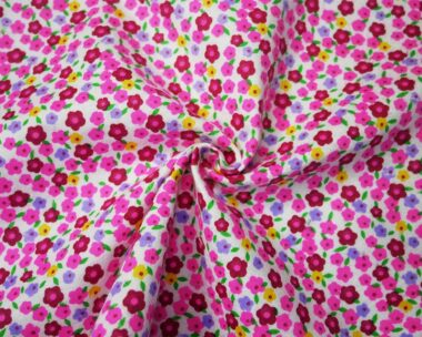 Pink Flower Brushed Cotton  Fabric
