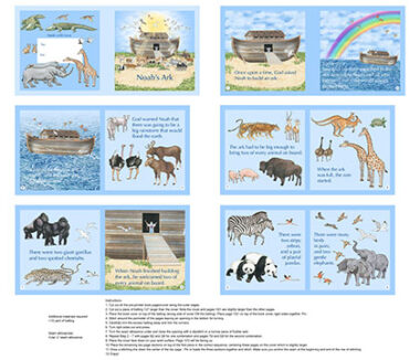 Noah's Ark Book Panel Northcott Fabric