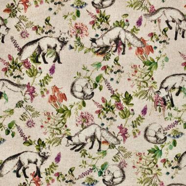 Botanical Fox Linen Look Canvas Fabric