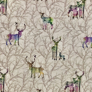 Winter Stag Linen Look Canvas Fabric