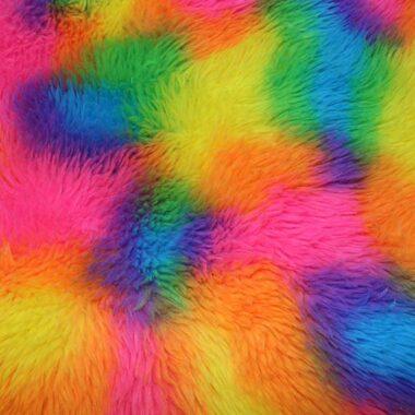 Rainbow Fur Fabric Bright