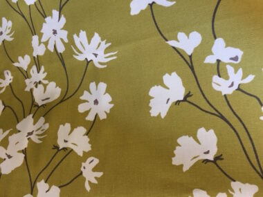 Green Flowers Cotton Duck Canvas Fabric