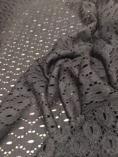 Black Honeycomb Stretch Lace Dress Fabric