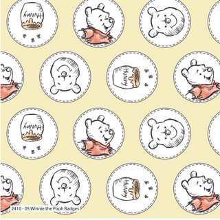 Winnie The Pooh Badges Disney Cotton Fabric