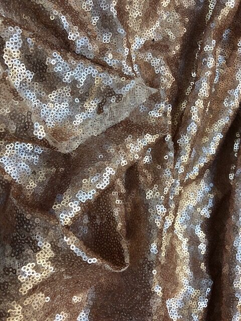 Luxor Overlapping Sequin Dress Fabric Rose Gold