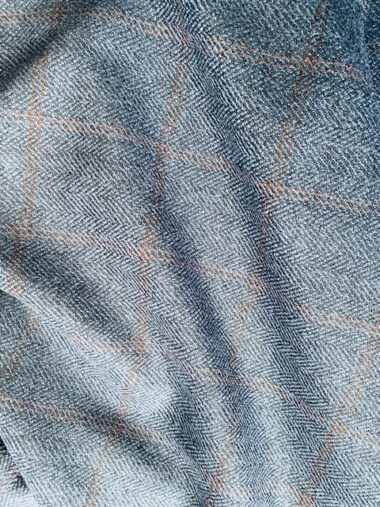Blue Wool Mix Check Fabric