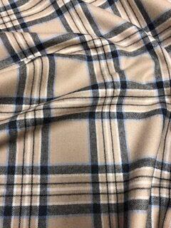 Wool Check Camel Fabric