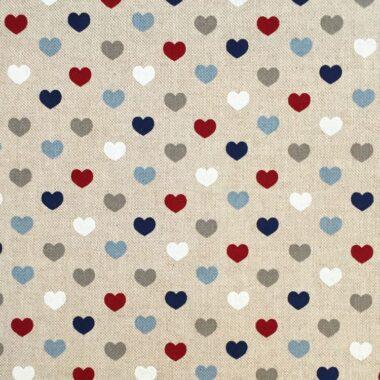 Linen Style Canvas Nautical Hearts Fabric