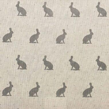 Grey Bunnies Linen Look Canvas Fabric