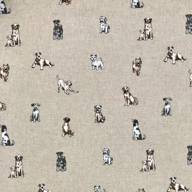 Shabby Dogs Linen Look Canvas Fabric