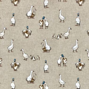 Shabby Ducks Linen Look Canvas Fabric