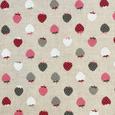 Berry Strawberry Linen Look Canvas