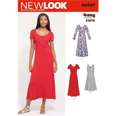 New Look Sewing Pattern N6597 Misses Knit Dress