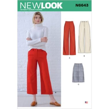 New Look Sewing Pattern N6643 Misses Wide Leg Pants and Skirt