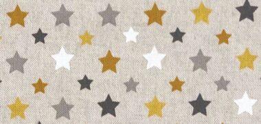 Stars Ochre Linen Style Canvas Fabric