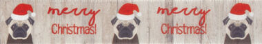 Merry Christmas Pug 25mm Berisford Ribbon