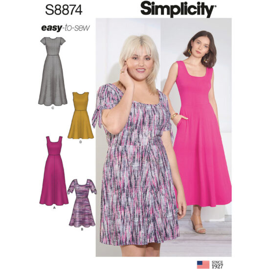 Simplicity Sewing Pattern 8874 Misses Womens Easy-to-Sew Knit Dress