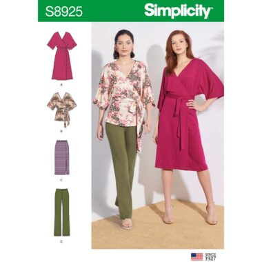 Simplicity Sewing Pattern S8925 Misses Knit Pants Skirt Wrap Dress and Wrap Top
