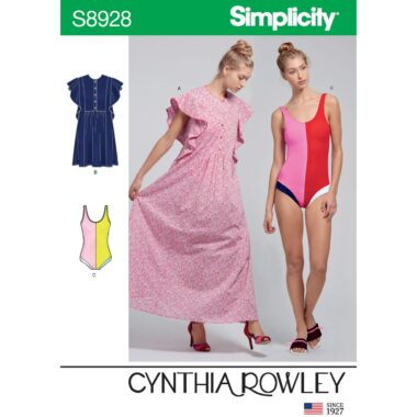 Simplicity Sewing Pattern S8928 Misses Swimsuit and Caftans by Cynthia Rowley