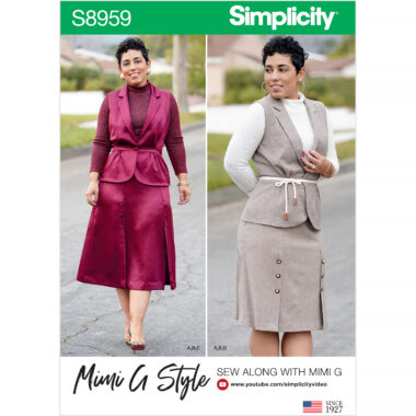 Simplicity Sewing Pattern S8959 Misses and Womens Top, Skirt, and Vest by Mimi G Style