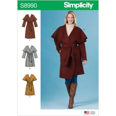 Simplicity Sewing Pattern S8990 Misses Wrap Coats