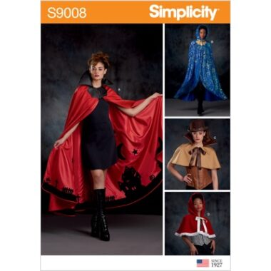 Simplicity Sewing Pattern S9008 Misses Cape with Tie Costumes