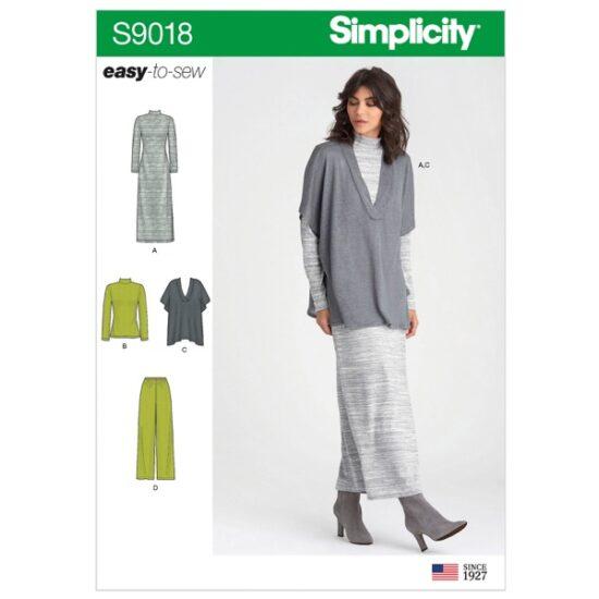 Simplicity Sewing Pattern S9018 Misses Pants, Knit Vest, Dress or Top
