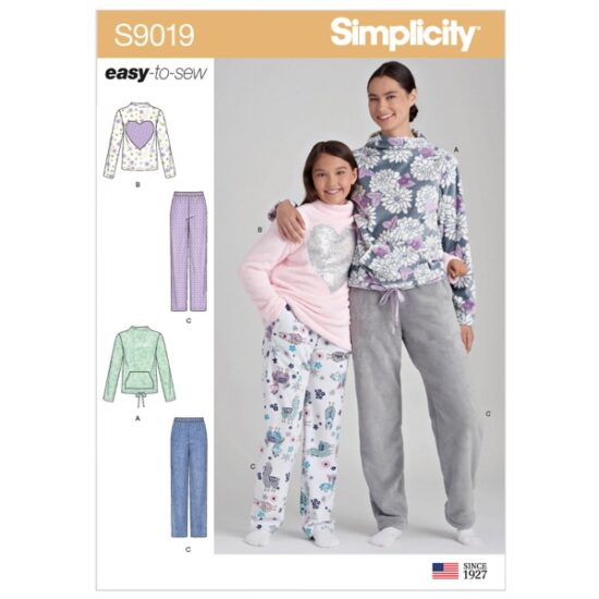 Simplicity Sewing Pattern S9019 Girls' & Misses' Loungewear