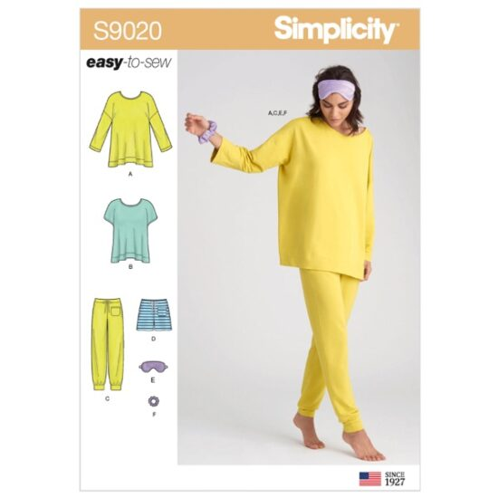 Simplicity Sewing Pattern S9020 Misses' Sleepwear Knit Tops, Pants, Shorts & Accessories