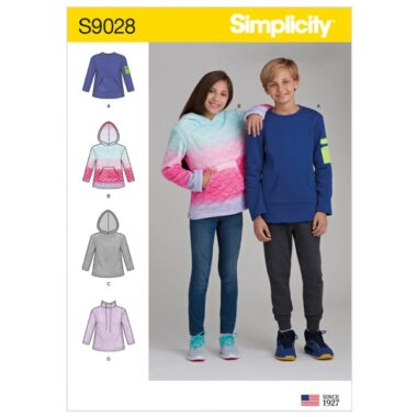 Simplicity Sewing Pattern S9028 Girls' & Boys' Knot Tops with Hoodie