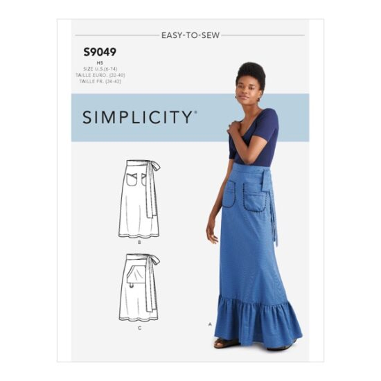 Simplicity Sewing Pattern S9049 Misses Back Wrapped Skirt With Pockets