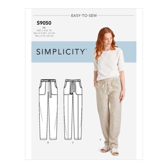 Simplicity Sewing Pattern S9050 Misses Pull On Pants With Pockets