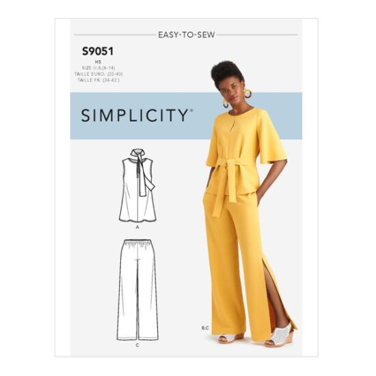 Simplicity Sewing Pattern S9051 Misses Tops, Belt or Scarf & Pants