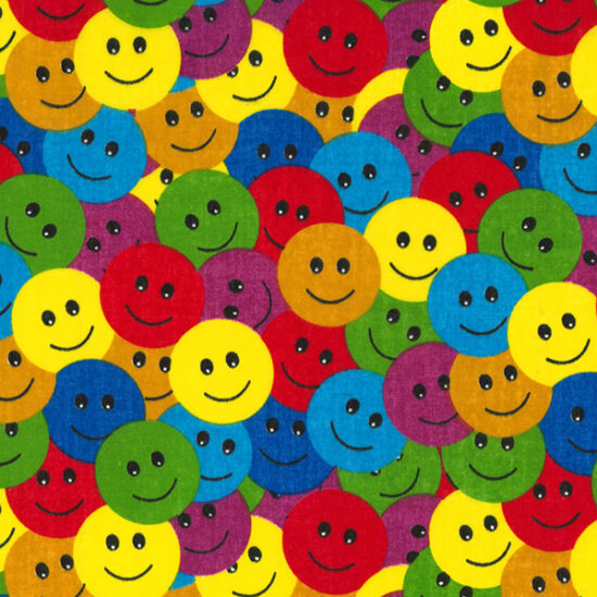 Smiley Buttons Poly Cotton Fabric
