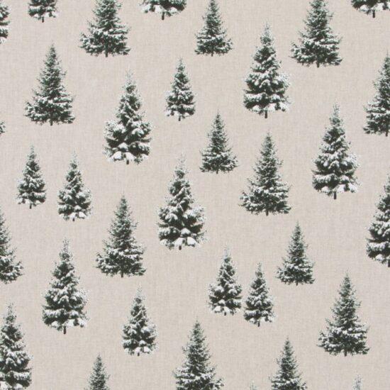 Christmas Fir Tree Linen Look Canvas Fabric