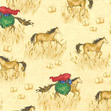 Horse and Rider Country Path Michael Miller Fabric