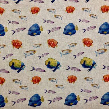 Marine Line Digital Linen Style Canvas Fabric