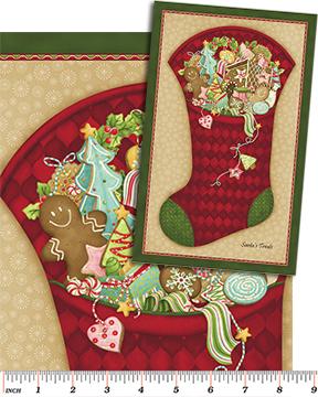 Here Comes Santa Stocking Panel Claret