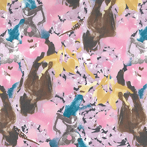 Lilac Floral Cotton Sateen Fabric John Louden