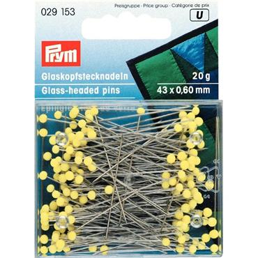 Prym Glass-headed pins, 0.60 x 43mm, yellow, 20g