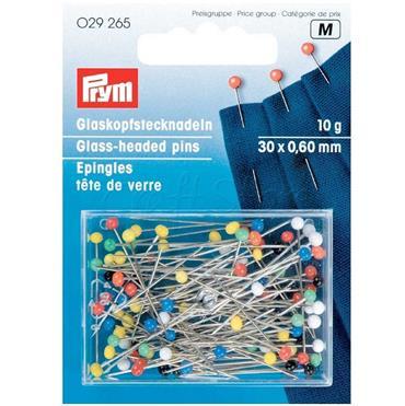 Prym Glass-headed pins, 0.60 x 30mm, multi-colour, 10g