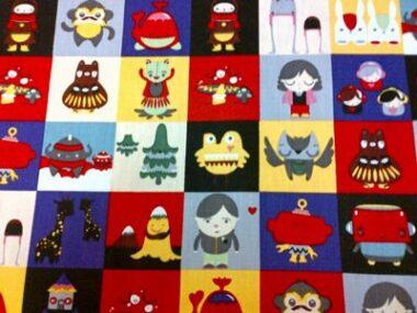 Japanese Dolls Squares Cotton