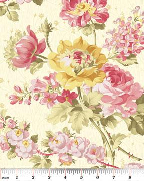 Rosemount Gazebo Roses Quilting Fabric Benartex