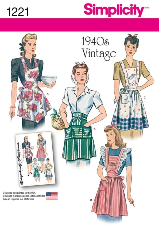 Simplicity 1221 Vintage Aprons Sewing Pattern