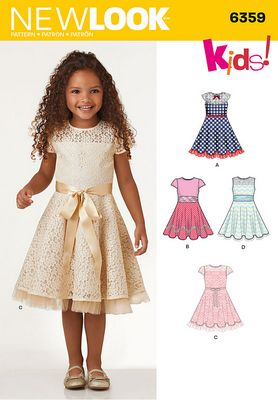 New Look 6359 Childs Party Dress Sewing Pattern