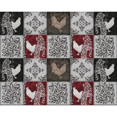 Colour Bakery Bonjour Rooster Squares Quilting Treasures