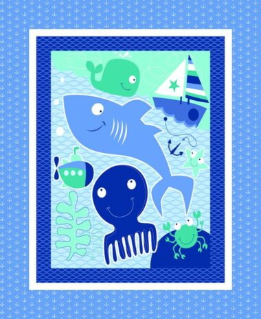 Seawater Friends Quilting Fabric Panel