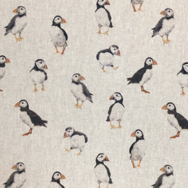 Puffins Digital Linen Style Canvas Fabric